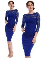 Goddess Blue Scallop Lace Fitted Wiggle Marcella Cocktail Evening Party Dress