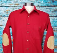 Pendleton Red Wool Elbow Patch USA Trail Board Western Shirt Mens Medium
