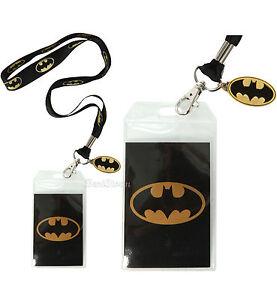 DC Comics Batman Metallic BAT LOGO Lanyard W/ Metal Charm ID Holder Dark Knight