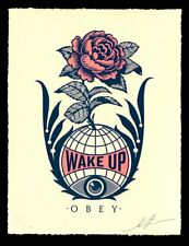 SIGNED! Shepard Fairey WAKE UP EARTH SIGNED & NUMBERED LETTERPRESS LE/500 !