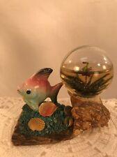 Vtg Rare 40-50's Japan Souvenir Abalone Conch Shell Pottery Fish Bird Snow Globe