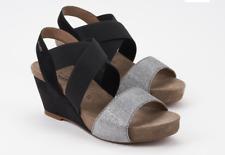 Mephisto Barbara Black Silver Comfort Wedge Sandal Womens Sizes 35-42 NEW!!!