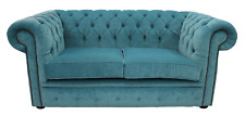 Chesterfield 2 Seater Pimlico Teal Blue Fabric Sofa Settee Velvet Handmade