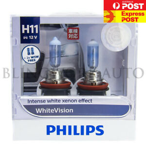 (FREE T10 ADR APPROVED) PHILIPS H11 WHITE VISION Halogen Headlight Bulbs 12362