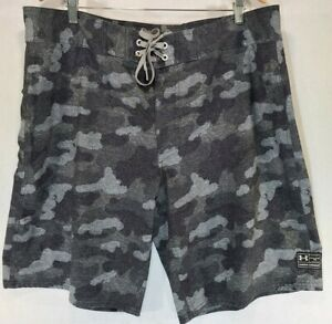 Under Armour Men 40 Shorts Stretch Printed Swim Board Gray Black Camo Trunks