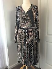 Monsoon Ladies Dress Printed Size 16 Black Red Beige Stretch Wrapover