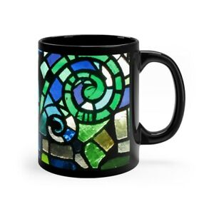 Stained Glass Design 11oz Coffee Mug Black Blue Hot Chocolate