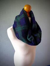Black Watch Tartan snood scarf, green and blue cowl scarf, green tartan loop