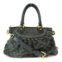 Auth LOUIS VUITTON Neo cabby MM Shoulder tote bag M95351 Monogram denim Black LV