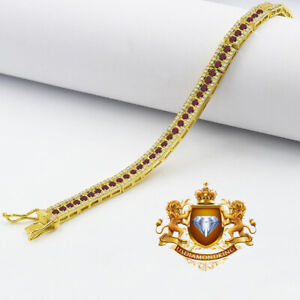 Real Yellow Gold On Genuine Sterling Silver Ruby Red Tennis Link Bracelet Unisex