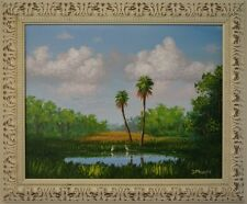 Framed Original Florida landscape painting - Lunch for Two in the Savannahs