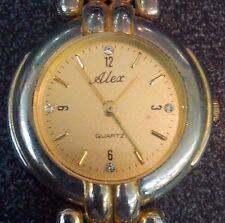 Vintage style Alex crystal markers gold tone ladies quartz watch