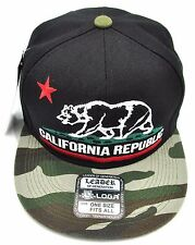 CALIFORNIA REPUBLIC Snapback Cap Hat CALI Bear Flag Black Camouflage Hats NWT