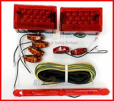 Submersible Truck Trailer Square LED Light kit, Stop Turn Tail, w/ ID Bar light