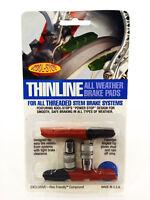 Kool Stop Thinline Dual Compound Threaded Brake Shoes, Black/Salmon