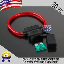 30 Pack 10 Gauge ATC In-Line Blade Fuse Holder 100% OFC Copper Wire + 1A - 40A