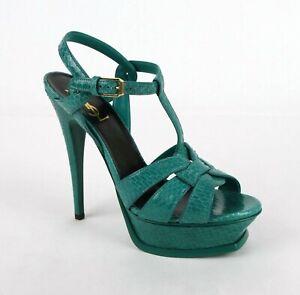 Saint Laurent Tribute Emerald Green Python Leather Platform Sandal 315489 3106