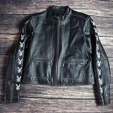 Playboy Womens Leather Jacket Bunny Black Gray Large