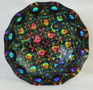 LGW  Pfauenauge Fußschale Bleikristall Schale Carnival Glas  guter Zustand