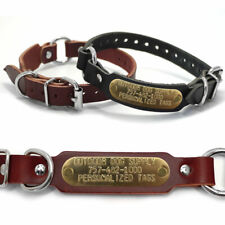 3/4″ Leather Center Ring Id Dog Collar Small Dogs with Custom Brass Name Tag