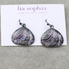 Nwt Lia sophia signed jewelry cute black drop hoop earrings enamel cover shell