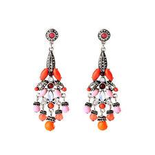 NEW Stylish Anthropologie Caitriona Red Orange Pink Gemmed Statement Earrings