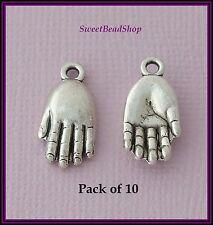 10 Antique Silver Colour 29 x 9mm Palm Hand 3D Charms