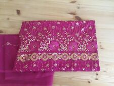 Shalwar Kameez Loose Fabric - Magenta Color W/ Gold Design - Excellent condition