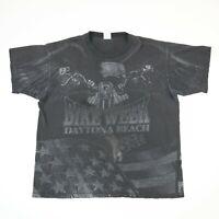 Vtg Daytona Bike Week T-Shirt All Over Print Eagle Single Stitch Faded Black 2XL