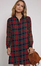 Chiffon Collar Check Dresses for Women