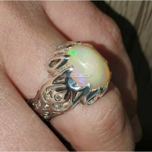 Natural Opal Gemstone with 925 Sterling Silver Ring for Men's EG1475
