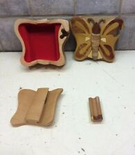 Handmade Wood Butterfly Puzzle Jewelry Box with Secret Compartment