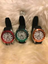 NEW Lot of 3 Men Watch Leather Watches Quartz Military wristwatch