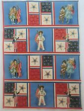 "Patriotic Children Flag Fabric 12 Block Panel 5"" squares Quilting Crafting"