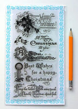 "Clear Stamps Lot (4""x7"" Merry Christmas Greeting Saying Vintage FLONZ 832 Rubber"