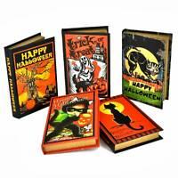 Wood Book Box Halloween Girl Pumpkin Ghost Cat Classic Retro Vintage Style Decor