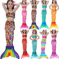 Kids Girls  Mermaid Swimsuit Tail Costume Summer  Swimmable Mono Fin Beahwear