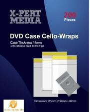200 Resealable Plastic Wrap Bags for Standard DVD Case 14mm Clear Strong