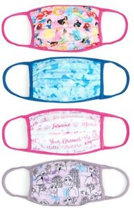 Disney Store Re-useable Face Coverings Masks Princess 4 Pack Medium Large Extra