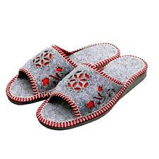 Grey Red Felt Healthy Natural Ladies Slippers Indoor Footwear for Women shoes