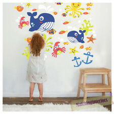 Childrens Aqua Time Sea Creatures Wall Stickers Decals Nursery Girls Room Kids