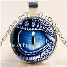 Dragon Eye Photo Cabochon Glass Tibet Silver Chain Pendant  Necklace