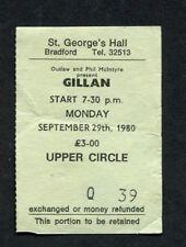 1980 Ian Gillan from Deep Purple Concert Ticket Stub Bradford UK Glory Road