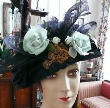 "Edwardian ""Be Be "" Royal Crest Black Satin Hat Art Nouveau Stunning Feathers"