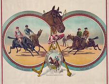 "1888 Horse Racing Art Print, Jockey, Cincinnati ,antique colors, 20""x16"" print"