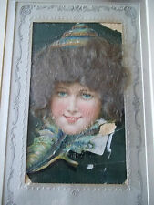 Antique Lady Postcard with Real light  Hair on Picture - Framed under Glass