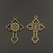 20pcs Antiqued Bronze Alloy Sun Pendant Charms Cross Shaped 35*24mm 06034