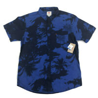 Levi Mens Mozell Button Shirt Short Sleeve Palm-Print Blue XL