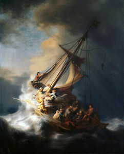 VV064 Oil painting Rembrandt - Christ on sail boat with huge ocean waves - storm