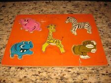 Vintage Connor Toy Animals of the Zoo Wooden Puzzle 5 Pieces